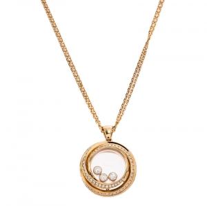 Chopard 18k Rose Gold Happy Emotions Pendant Double Belcher Chain Necklace