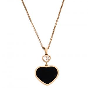 Chopard Happy Hearts Onyx Diamond 18K Rose Gold Pendant Necklace