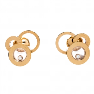 Chopard Happy Bubbles Diamond 18K Rose Gold Stud Earrings