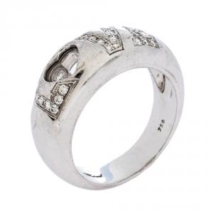 Chopard Happy Love Diamond 18K White Gold Band Ring Size 55