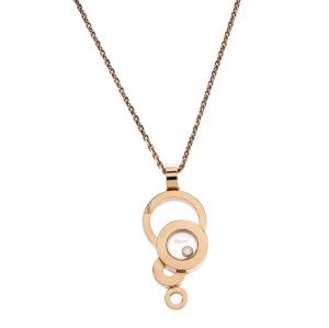 Chopard Happy Bubble Diamond 18K Rose Gold Pendant Necklace