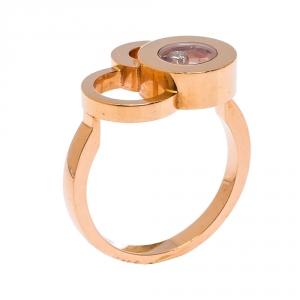 Chopard Happy Bubbles Diamond 18K Rose Gold Ring Size 54.5