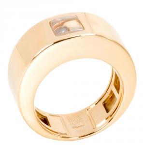 Chopard Happy 0.05 CT Diamond 18K Yellow Gold Ring Size 52