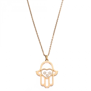 Chopard Happy Diamonds Good Luck Charm 18K Rose Gold Pendant Necklace