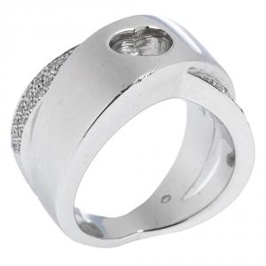 Chopard Happy Diamond Heart 18K White Gold Ring Size 50.5