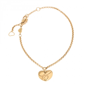 Chopard Chopardissimo 18K Yellow Gold Heart Charm Bracelet
