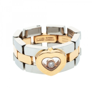 Chopard Happy Diamond Heart 18K Rose Gold Stainless Steel Ring Size 52