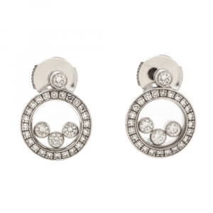 Chopard Happy Diamond 18K White Gold Round Stud Earrings