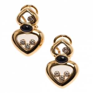 Chopard Happy Diamonds Cabochon Blue Sapphire 18K Yellow Gold Earrings