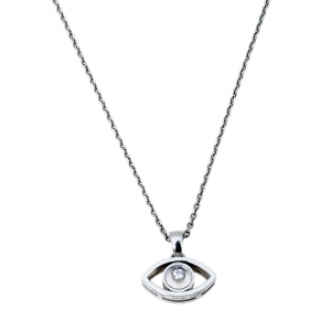 Chopard Happy Diamonds 18K White Gold Good Luck Charm Pendant Necklace