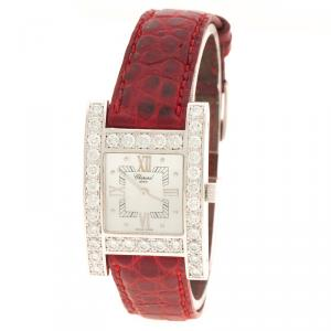 Chopard Mother of Pearl White Gold Diamonds Your Hour Women's Wristwatch 25 mm