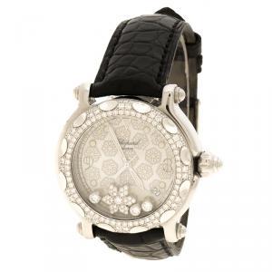 Chopard White Happy Sport Snowflakes 18K White Gold Steel Diamonds Women's Wristwatch 38 mm