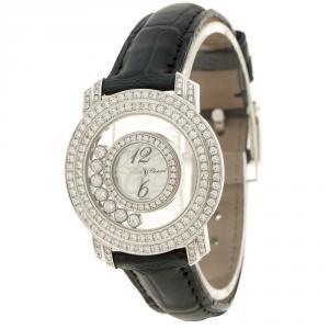 Chopard Mother of Pearl 18K White Gold Happy Diamonds Women's Wristwatch 30 mm