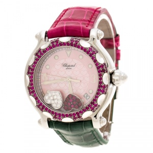 Chopard Pink Mother of Pearl Stainless Steel and Diamonds Happy Sport 28/8944 Women's Wristwatch 37 mm