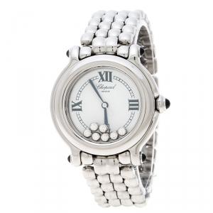ساعة يد نسائية شوبارد هابي سبورت 8236 ألماسات وستانلس ستيل بيضاء 32 مم