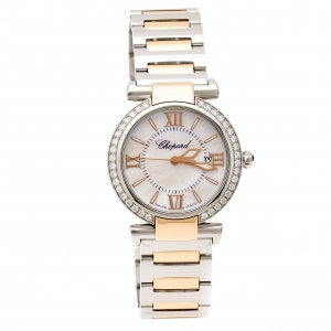 Chopard Mother of Pearl 18K Rose Gold Stainless Steel Diamond Imperiale 388541-6004 Women's Wristwatch 28 mm