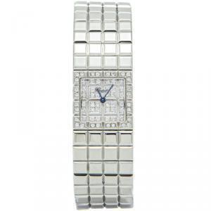 Chopard Silver Steel Full Diamond Ice Cube Women's Watch 22MM