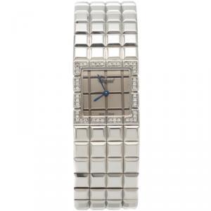 Chopard Silver Steel Ice Cube Diamond Bezel Women'S Watch 22MM