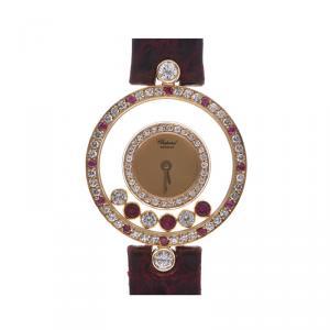 Chopard Champagne 18K Yellow Gold Ruby And Diamonds Happy Women's Wristwatch 23 MM