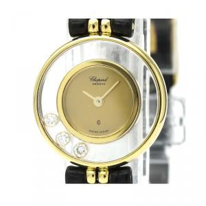 Chopard Gold Diamonds 18K Yellow Gold Happy Diamond 20/4801 Women's Wristwatch 21 MM