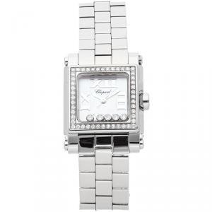 Chopard MOP Diamonds Happy Sport Square Stainless Steel 278516-3004 Women's Wristwatch 24 MM