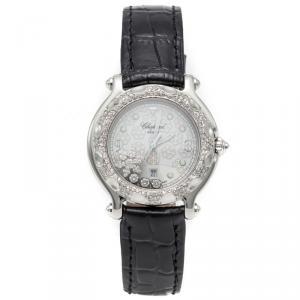 Chopard White Happy Sport Snow Flake Dial Stainless Steel Diamond Women's Watch 31MM