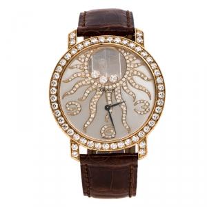 Chopard Silver Grey Sun Motif 18K Rose Gold Happy Diamonds 4176 Women's Wristwatch 40 mm