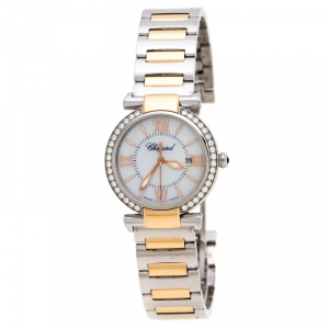 Chopard Mother of Pearl 18K Rose Gold Stainless Steel Diamonds Imperiale 8541 Women's Wristwatch 28 mm