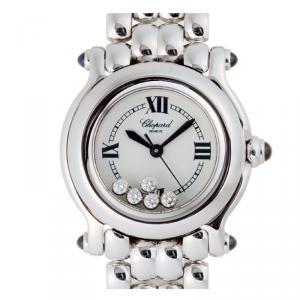 Chopard White Stainless Steel Happy Sport Diamond 27 8250-23 Women's Wristwatch 26MM