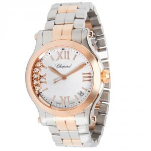 Chopard White 18K Rose Gold and Stainless Steel Happy Sport 278582-6002 Women's Wristwatch 36MM