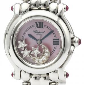 Chopard Pink MOP Stainless Steel Diamond Happy Sport 27/8250-21 Women's Wristwatch 26MM