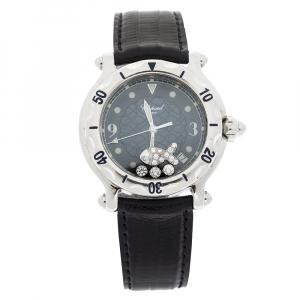 Chopard Blue Fish Motif Stainless Steel Diamonds Happy Sport 28/8347/8 Women's Wristwatch 38 mm