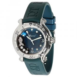 Chopard Blue Diamonds Stainless Steel Happy Fish 27/8921 Women's Wristwatch 32 MM