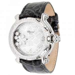 Chopard White Diamonds 18K White Gold And Stainless Steel Happy Sport 288946-2001 Women's Wristwatch 38 MM