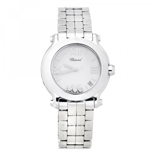 Chopard White Stainless Steel Happy Sport 278477-3013 Women's Wristwatch 36 mm