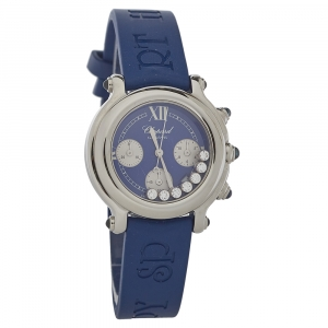 Chopard Blue Stainless Steel Diamonds Happy Sport 27/8323-23 Women's Wristwatch 32.5MM