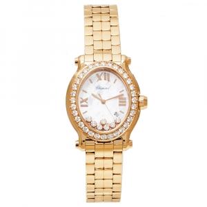 Chopard MOP 18K Yellow Gold Diamonds Happy Sport 5350 Women's Wristwatch 30 mm