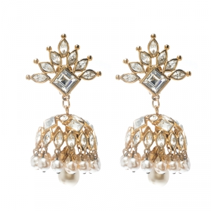 Christian Lacroix Faux Pearl & Crystal Gold Tone Long Clip-on Drop Earrings