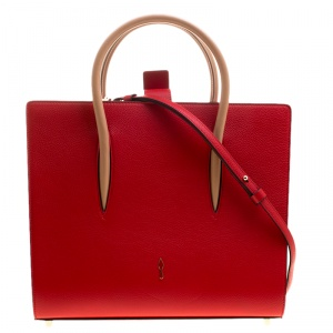 Christian Louboutin Red Leather Paloma Medium Tote