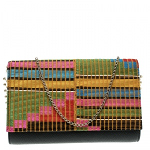 Christian Louboutin Black/Multicolor Leather and Embroidered Fabric Paloma Chain Clutch