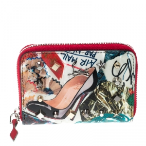 Christian Louboutin Multicolor Trash Print Patent Leather Panettone Spiked Zipper Coin Purse