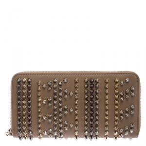 Christian Louboutin Beige Leather Spiked Zip Around Wallet