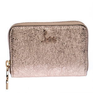 Christian Louboutin Rose Gold Crackled Leather Panettone Wallet