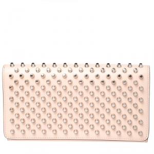 Christian Louboutin Beige Leather Macaron Studded Wristlet Flap Wallet