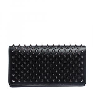 Christian Louboutin Black Leather Paloma Spike Wristlet Clutch