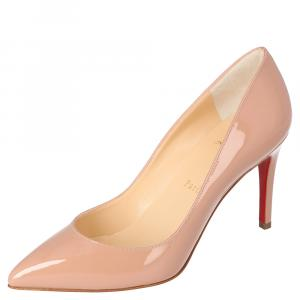 Christian Louboutin Nude Patent Leather Pigalle Pointed Toe Pumps Size 35