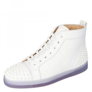 "Christian Louboutin White Embossed ""LoubinTheSky""€ Leather Lou Spikes 2 High-Top Sneakers Size 44.5"