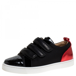 Christian Louboutin Black/Red Canvas and Patent Leather Kiddo Orlato Low Top Sneakers Size 40