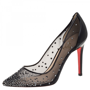 Christian Louboutin Black Mesh And Patent Leather Follies Strass Pointed Toe Pumps Size 39