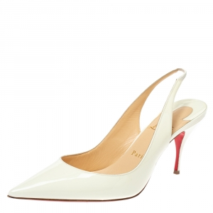 Christian Louboutin White Patent Leather Clare Slingback Pointed Toe Pumps Size 38.5